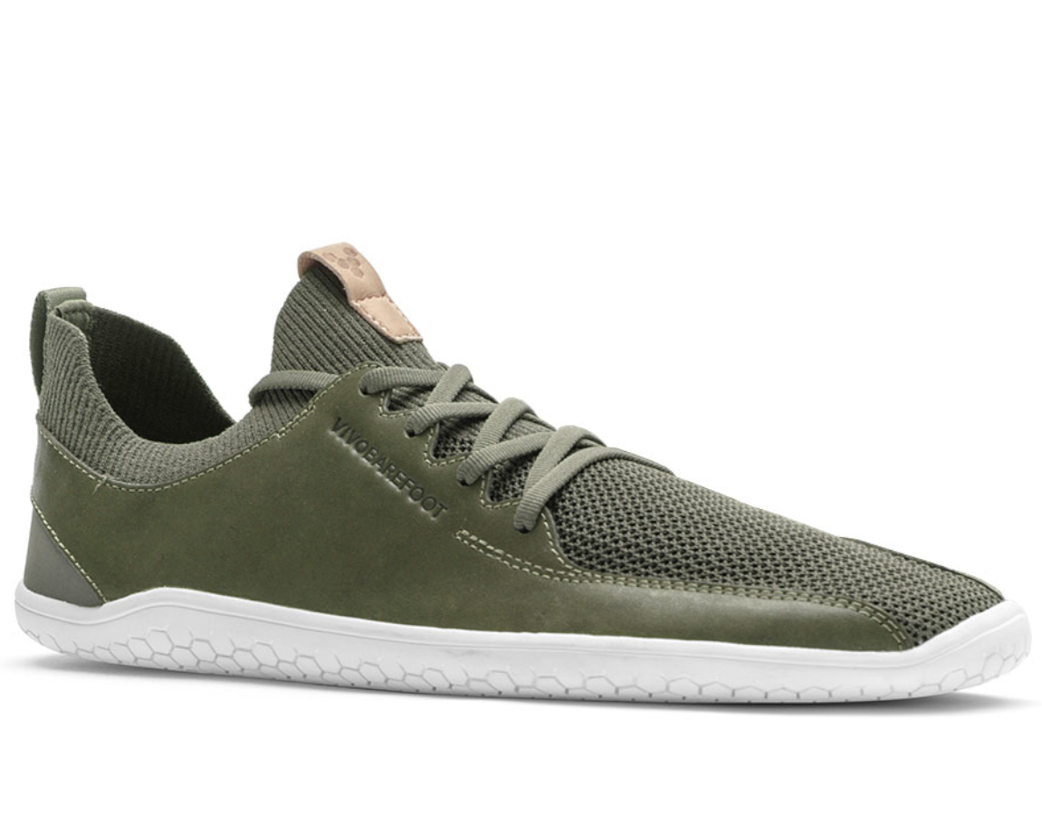 Vivobarefoot PRIMUS KNIT L Olive Green Leather ()
