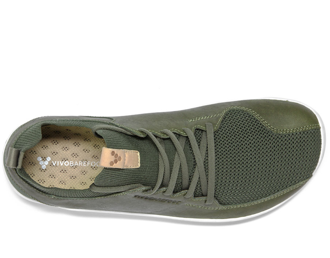Vivobarefoot PRIMUS KNIT M Olive Green Leather ()